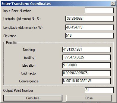Coordinate Transformation - Elevation from lat long coordinates