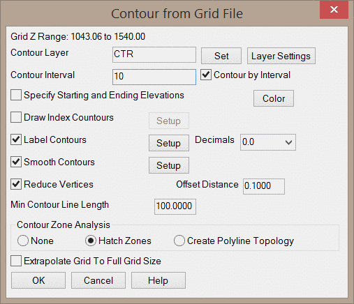 Contours from Grid File